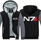 Xcoser Herren Kapuzen Pullover Winter Verdicken Plus Samt Jacke Mass N7 Sweatershirt Zip Hoodie Pulli für Effect Cosplay Kostüm