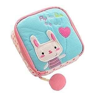 Sanitary Napkin Bag - SODIAL(R) Girl's Cute Cartoon Sanitary Napkin Towel Pads Small Bag Purse Holder Organizer£¨light blue£©