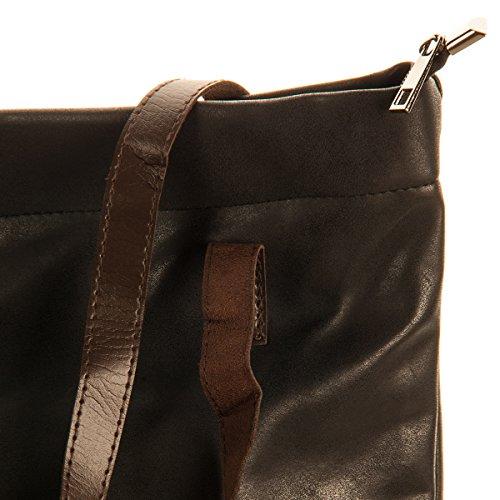 Schultertasche Shopping Bag Vintage Tasche Shopper mit Henkel Handtasche TOP TREND Schwarz