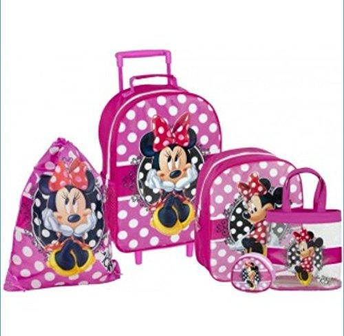 Minnie Mouse, Set di 5 pezzi per zaino Trolley valigia Borsa per scarpe e ciondolo per cellulare, colore: Rosa