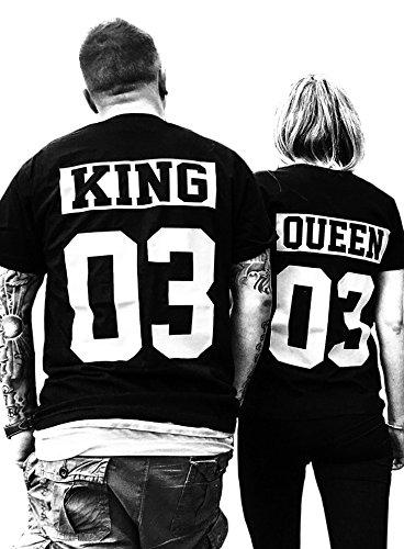 Comedy Shirts - KING 03 - NEGATIV - Herren T-Shirt - Schwarz / Weiss Gr. M (Disney Familie T Shirts)