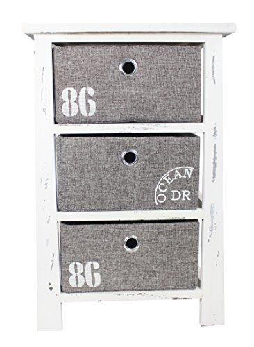 Holz Regal mit 3 Kisten weiß grau L - 57cm
