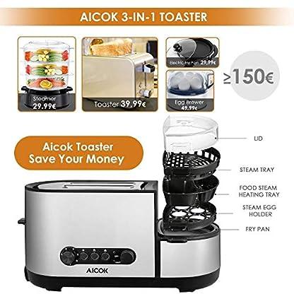 Aicok-Toaster-Automatik-Toaster-mit-Eierkocher-und-elektrischee-Pfannen-1250-Watt-bis-zu-7-Brunungsstufen-und-2-Brotscheiben-gebrsteter-Edelstahl