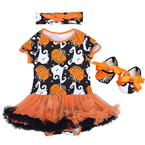 YiZYiF niedlich Babykleidung Baby Mädchen Bekleidung im Set mit Kurz Body Strampler und Schuhe mit Stirnband Halloween Kostüm Outfits, Orange & Schwarz & Weiß, 62-68 (Herstellergröße: (Ghost Kostüm Weiß Tüll)