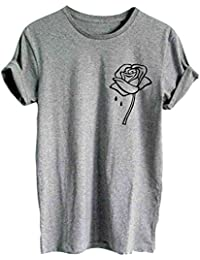 Yying Manga Corta Blusa Para Mujer Rose Impreso Casual Camiseta Moda Cuello Redondo Verano Primavera Camisetas