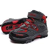 Chaussures de Randonnée en Cuir Chaussures de Sports Outdoors Pour Enfants Unisexe Garçon Fille Imperméable, Rouge, 33 EU
