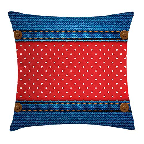 Yinorz Polka Dots Throw Pillow Cushion Cover, Jeans Pockets Frame Print with Little Polka Dots Traditional European Art Design, Decorative Square Accent Pillow Case, 18 X 18 inches, Blue Red -