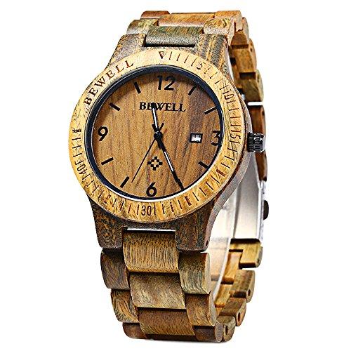 Bewell ZS-W086B bois hommes montre à la main naturel bambou et bois de santal date montre montre-bracelet à quartz analogique mouvement cadeau Montres
