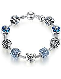 Carina Sterling Silver Plated Pandora Pink Shimmering Droplet Charm Bracelet For Women Girls