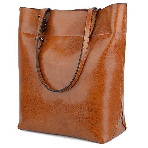 Yaluxe borsa a spalla stile vintage in vera pelle grande capacità tote per lavoro borse a tracolla per viaggio marrone