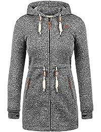DESIRES Thora Damen Übergangsjacke Fleecejacke mit Stehkragen oder Kapuze aus hochwertiger Materialqualität