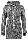 DESIRES Thora Damen Lange Fleecejacke Sweatjacke Jacke Mit Kapuze Und Daumenlöcher, Größe:L, Farbe:Black (9000)