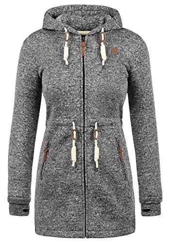 DESIRES Thora Damen Übergangsjacke Fleecejacke mit Kapuze aus hochwertigem Material, Größe:L, Farbe:Black (9000)