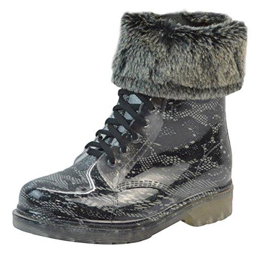 LvRao Damen Wasserdichte Schnürschuhe Kurz Boots Schnee Regen Booties Casual Garten Stiefel Gummistiefel Schwarz 2 mit Pelz