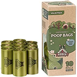Pogi's Poop Bags - Bolsas para excremento de perro - 10 Rollos (150 Bolsas) - Grandes, Biodegradables, Perfumadas, Herméticas