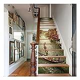 SERFGTFH 3D-Heimwerker Fliesen Treppen Aufkleber Abnehmbare Wasserdichte Wallpaper Aufkleber Selbstklebende Treppe Riser Für Treppe Oder Home Decor