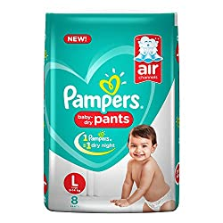 Pampers New Large Size Diapers Pants, 8 Count