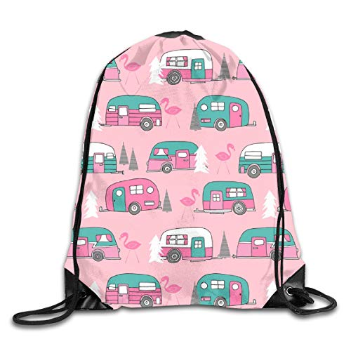 Drawstring Backpack Bags Vintage Camper Pink Turquoise Camper Van Retro Flamingo Florida Life Cute Sport Athletic Gym Sackpack for Men Women (Pink Vans Flamingo)