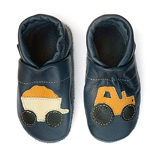 Pantau Leder Krabbelschuhe Lederpuschen Babyschuhe Lauflernschuhe mit Traktor, 100% Leder, 29 EU