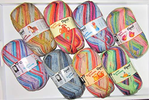 Sockenwolle Paket Opal Freche Freunde, 4-fädig (4ply), 8X 100g, 4-Fach Sockenwolle Sortiert