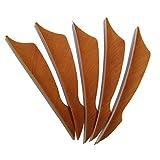 SHARROW 50pcs Bogenschießen Pfeilfedern 4 zoll Naturfeder Befiederung Bogensport Zubehör (Braun)