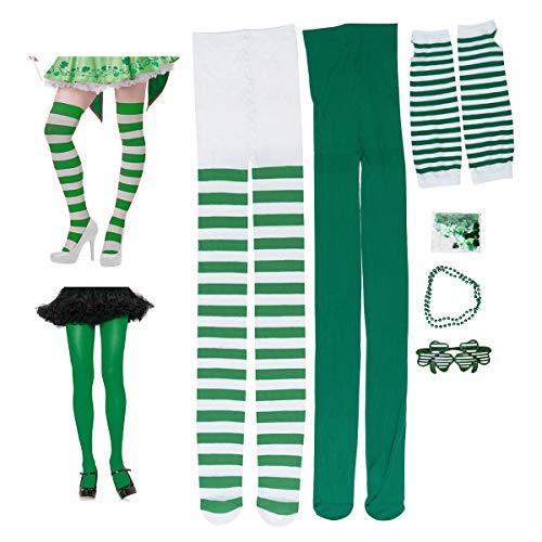 Damen Patrick Kostüm - Amosfun St. Patrick's Day Kostüm Zubehör für Damen Brille Halskette Leggings Lange Handschuhe Kleeblatt Konfetti Dekoration für irischen Tag Parade Party