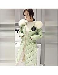 Mädchen Damen Frauen Winterfeste Winter Bekleidung Lange Jacke Mantel Warme Leichte Dünne Wärmehaltung Steppjacke Daunenjacke Streifen Weiß Hut Kapuze Down Coat grün