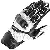 Monster Motorradhandschuhe schwarz/weiß/rot Rennhandschuhe Echtleder Motorradhandschuhe, weiß, M