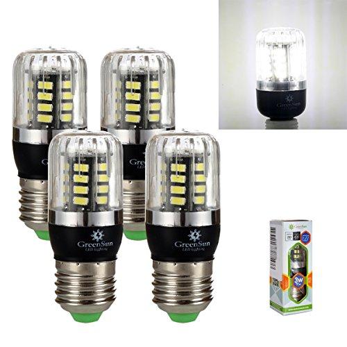 GreenSun LED 4 stück E27 3W 30*5736SMD LED lampe Leuchtmittel Birne Mais Glühbirne Glühlampe Strahler Energiesparlampe Licht Beleuchtung Bulbs 85-265V 300Lumen Kaltweiß(6000-6500K)