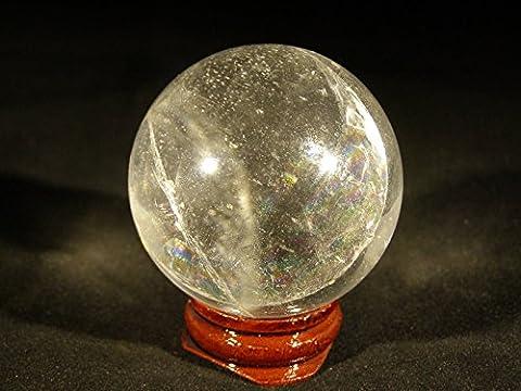 britain-e-spheres–Cristal–Un Superbe 55mm (env. 230g) Boule Sphère Cristal Quartz Transparent tibétain sur un support en bois rustique sur pied guérison