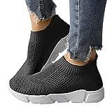 ORANDESIGNE Damen Stricken Sneaker Sportschuhe Leichte Atmungsaktive Turnschuhe Slip-on Walking Schuhe Socks Schuhe B Schwarz 39 EU