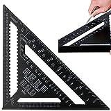 ManLee 12 in Équerre Triangle Règle d'Angle Rapporteur Charpentier Metrique en Alliage d'Aluminium Professionnel Precision Noir pour Menuisier Outils Bois,30x30x43cm