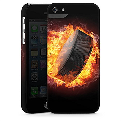 Apple iPhone SE Housse Outdoor Étui militaire Coque Hockey sur glace Flammes Palet enflammé CasStandup blanc