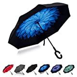Ombrello Inverso, Ombrello Pieghevole, a Forma Di C Con Manico,Ombrello di alta qualità - 8 stecche rinforzate, funzione anti-vento con anti-UV, Inverso Doppio Strato Ombrello(blu)