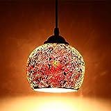 Mosaico de la vendimia colgante de la lámpara de estilo marroquí luz de techo hecho a mano artesanía para bar cocina cafetería (Rojo)