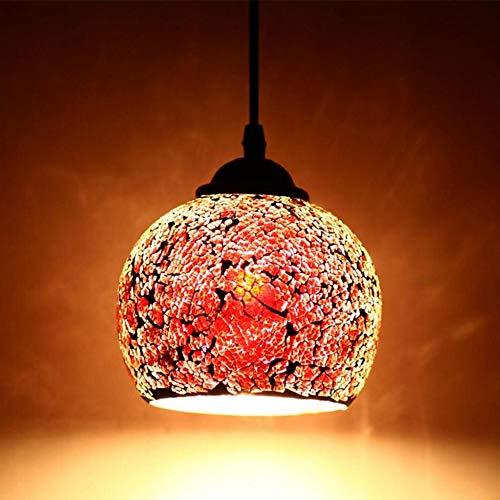 Wankd Mosaik Lampe Hängelampe Windlicht Pendelleuchte Aussenleuchte Deckenleuchte Käfig Lampenabdeckung Lampenschirme Kronleuchter Für Dekor (Groß rot)