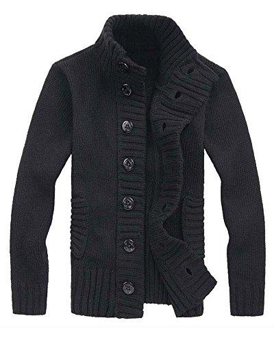 Homme Automne et l'hiver Tricots Bouton Manches Longues Manteau Noir