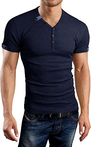 AIYINO Herren Casual Cardigan T-Shirt mit V-Ausschnitt (Large, Navy)