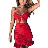 Conjunto de Sling Top para Mujer + Falda con Volantes Dwevkeful con Cuello En V Moda Casual Slim Fit Vestidos de Playa Primavera y Verano Vestir Faldas Skirt Dress Ropa Top