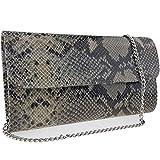 Freyday Echtleder Damen Clutch Tasche Abendtasche Muster Metallic 25x15cm (Beige Snake 2)