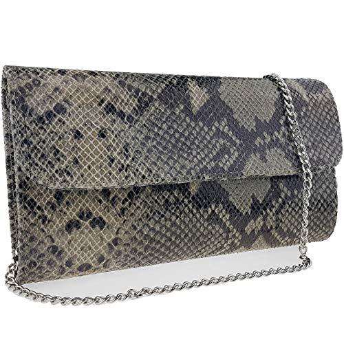 Freyday Echtleder Damen Clutch Tasche Abendtasche Muster Metallic 25x15cm (Beige Snake 2) -