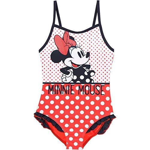 Disney Bañador Infantil Minnie niñas con Adornos de Volantes en la Parte Inferior 4 años, Rojo