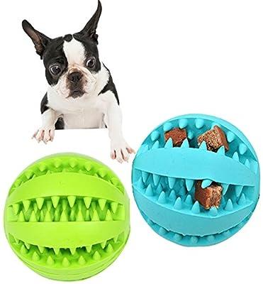 Yier Dog Treat Ball Interaktive Reinigung Training Haustier Spielzeug Ball Welpen Kauen, Hund Spielzeug Bälle Packung von 2