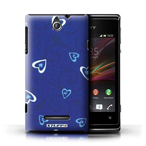 Kobalt® Imprimé Etui / Coque pour Sony Xperia E / Bleu/Turquoise conception / Série Coeur Vigne Motif Bleu/Turquoise
