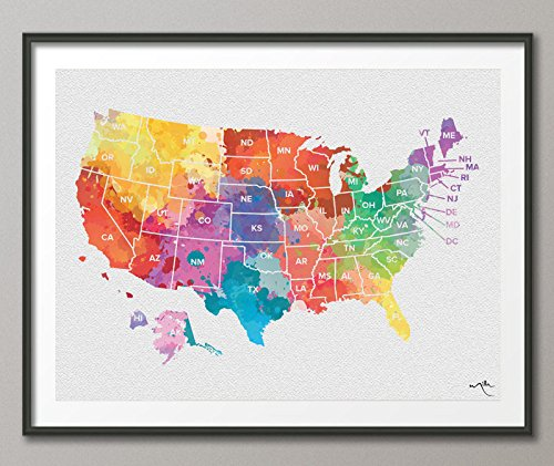 Push Pin USA Karte, Aquarell Vereinigten Staaten Map, Amerika Karte, Pin Travel Map, Wanderlust, Wanddekoration, Home Decor, Karte art-1075, Mittel, Mehrfarbig, 27x55 (70cmx140cm) (Staaten-map-kunst Vereinigte)