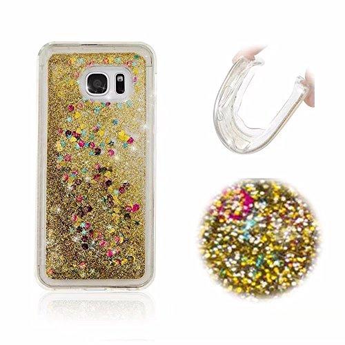 Galaxy S7 Hüllen, MingKun Transparent TPU Bling Glitzer Silikon Handyhülle für Samsung Galaxy S7 Glänzend Treibsand Silikon Weich Case Cover Dynamisch Flüssige Fließend Schutzhülle - LOVE Gold