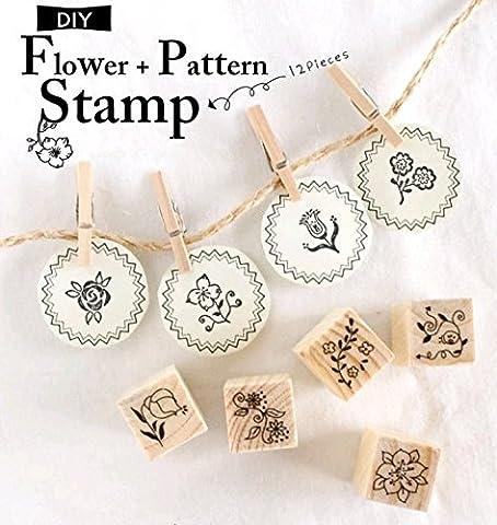 SwirlColor Rubber Stamp Bois Set 12 Kinds Elégant Stamp DIY Floral Set Avec Box