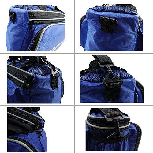 Vitalite-Multifunktionale Fahrradtasche Transporttaschen Gepäckträger Tasche mit Regendichtes Abdeckung Blau