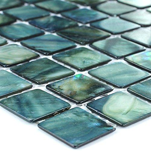 Mosaik Glas (Glas Mosaik Fliesen Perlmutt Effekt Grün 25x25x2mm)