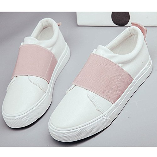 Minetom Femmes Casual Toile Mocassins Chaussures Slip-on Chaussures Plates Rose